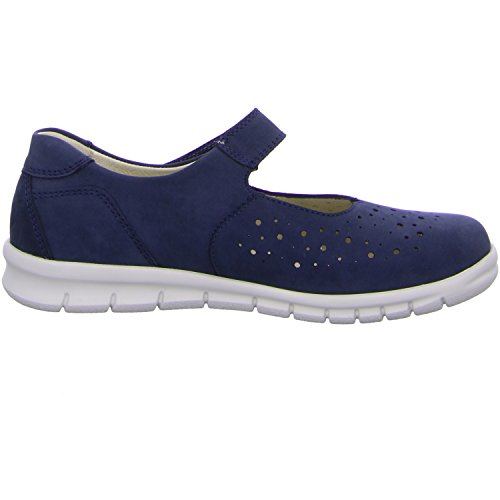 Waldlaufer 359303 191 217 women's Mary-Jane shoe in navy nubuck 93 Blue - Marine Weiß 0VdNukd2Cm