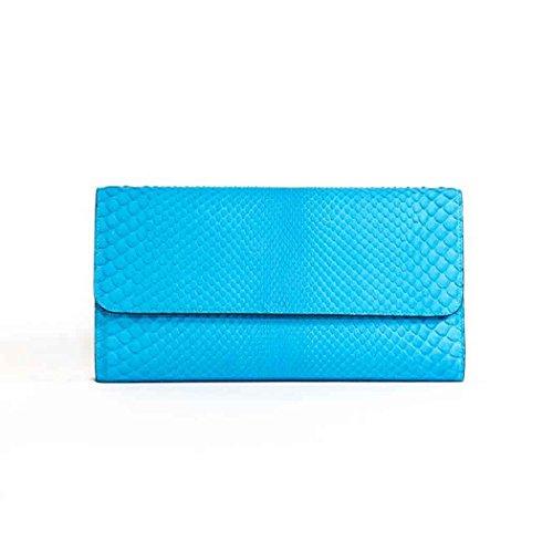 Officina Firenze - Bolso de asas para mujer Azul Pitone Celeste