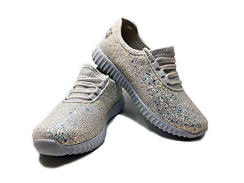 iHeart Glitter - Womens Fashion Stylish Trendy Sneakers White Shiny Textured Comfortable Street Jogging Urban City Shoes Size 6 from iHeart Glitter