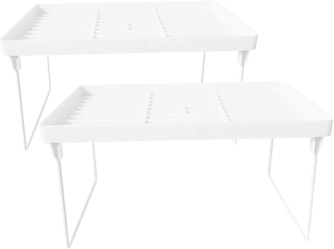 Multi-Purpose Storage Organizer Rack, Expandable Stackable, Shelf Countertop Craft Table Desktop Office Kitchen (Combo 3, White)