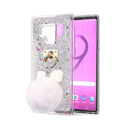 BABEMALL Galaxy Note 9 Case, 3D Dynamic Bling Flowing Glitter Stars Liquid Shockproof Soft TPU Case + Gold Pendant Bow-Knot Fur Ball (Silver, for Samsung Galaxy Note 9)