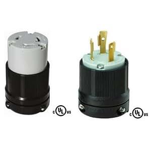 nema l6 30 plug and connector set rated for 30a 250v 3. Black Bedroom Furniture Sets. Home Design Ideas