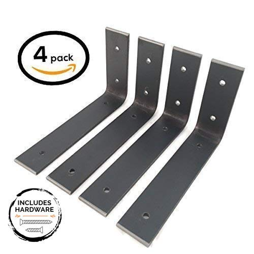 4 Pack - 6L x 4H Angle Shelf Bracket, Iron Shelf Brackets, Metal Shelf Bracket, Industrial Shelf Bracket, Modern Shelf Bracket, Shelving