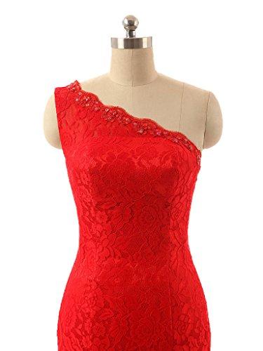Women One s Shoulder Prom Red Dormencir Brush Lace Dresses Evening EBqdnWBfOx