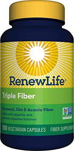 Renew Life Adult Fiber Supplement – Triple Fiber – Dietary Fiber – Dairy & Soy Free – 150 Vegetarian Capsules, (Packaging May Vary)