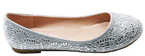 Walstar Femmes Casual Strass Chaussures Plates Argent