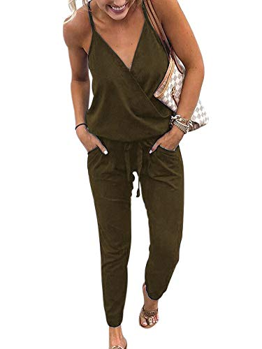 (SCORP Women's Casual Button Deep V Neck Sleeveless Drawstring Waisted Long Jumpsuit Playsuit Army Green M)