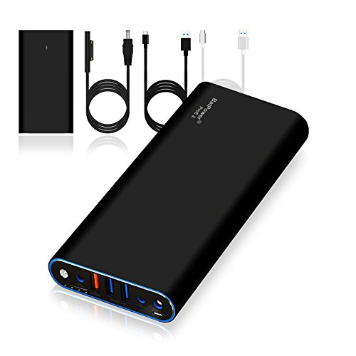 BatPower ProE External Battery Portable Charger Power Bank for Surface Laptop, Surface Book, Surface Pro 4 / 3 / 2 and RT, 4 USB Ports Quick Charge for Tablet or Smartphone (40000mAh)