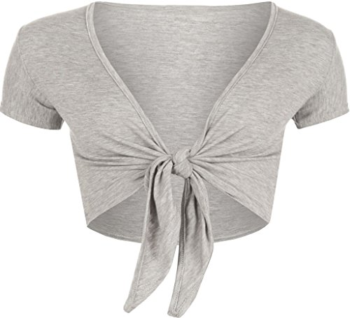 RM Fashions Women Short Sleeve Bolero Cardigan Crop Top Tie up Shrug Cosplay Shirt (Small-Medium, Grey) - Grey Shrug Top Shirt