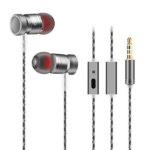 AOKII Wired In-Ear Earbud Headphones with Mic & Remote Control,Comfortable Earphones Compatible for iPhone,Android (Gray)