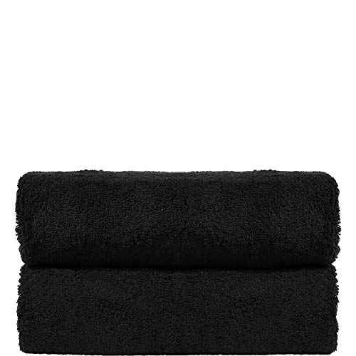 West LA Store Premium Turkish Cotton 2-Piece Large Bath Towels, Black (Black Bath Sheets)