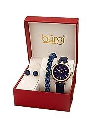 Burgi BUR241 - Set de regalo para mujer con un elegante reloj con correa de piel y marcadores de purpurina, pulsera con abalorio de vidrio y arete de vidrio, Azul