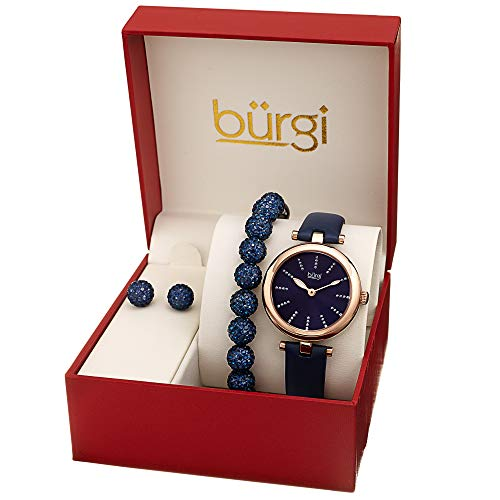 Burgi BUR241 Ladies Gift Set with a Stylish Case Watch with Leather Strap, and Glitter Markers, Crystal Beaded Bracelet and Crystal Earrings - Red Ladies Watch Bracelet