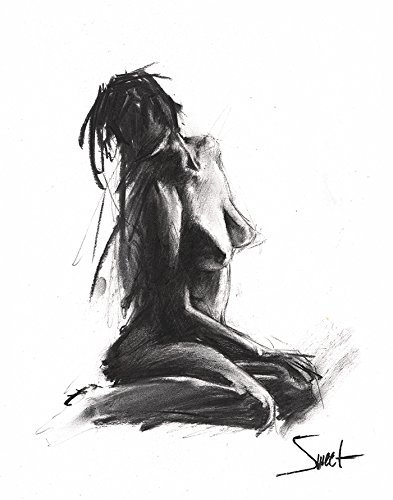 Charcoal Figure Drawing, Bathroom Decor, Naked Woman Art, Erotic Art, Erotic, Nude Model, Life Drawing by SignedSweet