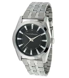 Performer 7036012 - Reloj analógico de cuarzo para hombre con correa de acero inoxidable, color plateado