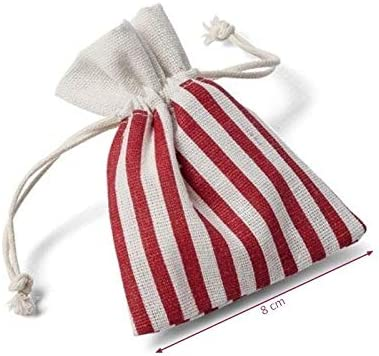 Artif Lote de 5 pochons Rayas Rojo y Blanco en algodón, Dim. 8 x 10 cm, pequeño Bolsa con cordón Tema Marino: Amazon.es: Hogar