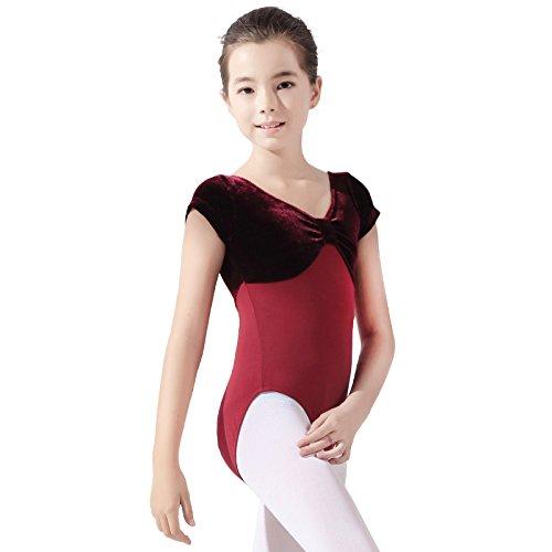 New children girls short sleeve velvet lycra dance gymnastics training leotard