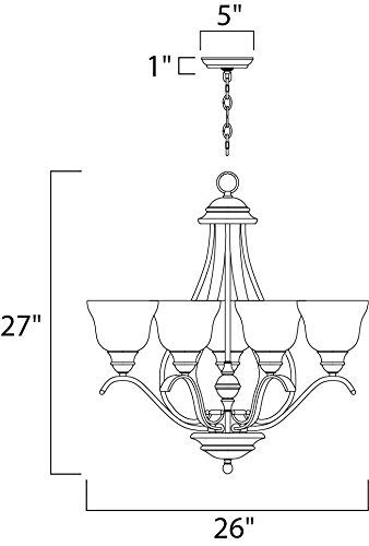 Maxim 11805ICBK Linda 5-Light Chandelier, Black Finish, Ice Glass, MB Incandescent Incandescent Bulb , 100W Max., Dry Safety Rating, Standard Dimmable, Opal Glass Shade Material, 1150 Rated Lumens