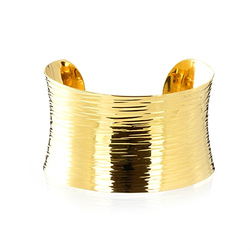 - MGD, 38 MM Wide Hammered Cuff Bracelet, Gold Tone Brass, Metal Bracelets, Adjustable Bangle One Size Fit All, Fashion Jewelry for Women, Teens and Girls, JE-0142B