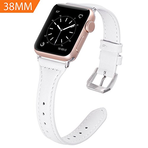 Karei Leather Bands for Apple Watch Band 38mm, Retro Top Grain Genuine Leather Replacement Strap with Stainless Steel Clasp for iWatch Series 3,Series 2,Series 1,Sport, Edition (White)