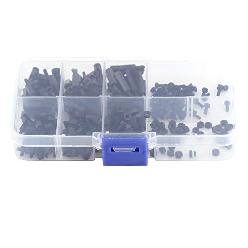 (250Pcs M2 Hex Column Nylon Standoff Spacer Pillars Screws Nuts Assortment Kit with Storage Box (M2 Male to Female))