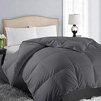 EASELAND All Season King Size Soft Quilted Down Alternative Comforter Hotel Collection Reversible Duvet Insert with Corner Tabs,Winter Warm Fluffy Hypoallergenic,Dark Grey,90 by 102 Inches
