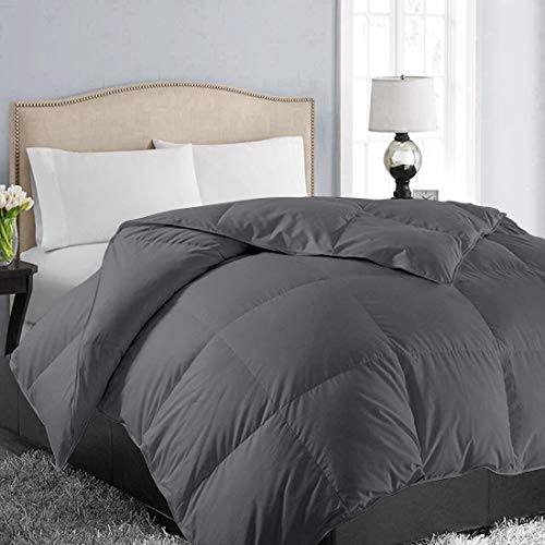 EASELAND All Season Queen Soft Quilted Summer Cooling Down Alternative Comforter Hotel Collection Reversible Duvet Insert with Corner Tab,Warm Fluffy, Dark Grey,88 by 88 Inches