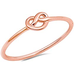 Rose Gold-Tone Infinity Heart Knot Ring New .925 Sterling Silver Band Valentine's Day gift