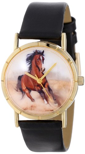 Whimsical Watches Kids' P0110023 Classic Arabian Horse Black Leather And Goldtone Photo Watch (Leather Band Round Photo Watch)