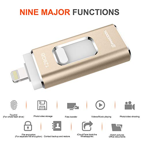 USB Flash Drive Memory Stick Backup Drive iOS Flash Drive Photo Stick for iPhone PHICOOL 128GB Photo - http://coolthings.us