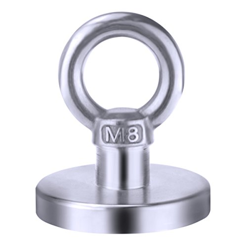 (110LBS Pulling Force Diameter 48mm Super Powerful Round Neodymium Magnet Hooks with Countersunk Hole and Eyebolt )