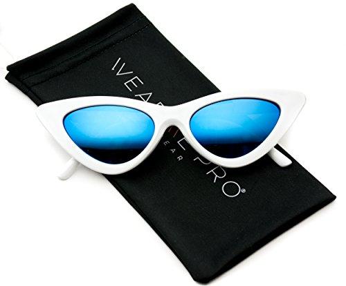 WearMe Pro - Retro Vintage Tinted Lens Cat Eye Sunglasses (White Frame / Mirror Blue, - White Sunglasses All