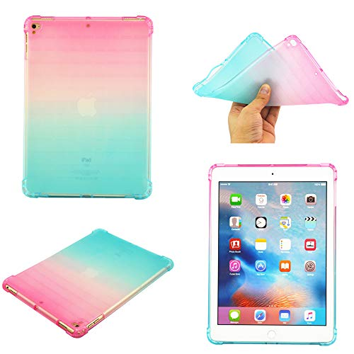 iPad Air 2 iPad 6 Case, Crystal TPU Case Slim Soft Flexible Shock Absorbent Protective Cover Smart Case Soft Silicone Cover Rubber Gel Cover Transparent Protector Clear Case,Pink+Green