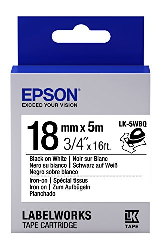 "Epson LabelWorks Iron-on LK (Replaces LC) Tape Cartridge ~3/4"" Black on White (LK-5WBQ) - For use with LabelWorks LW-400, LW-600P and LW-700 label printers"
