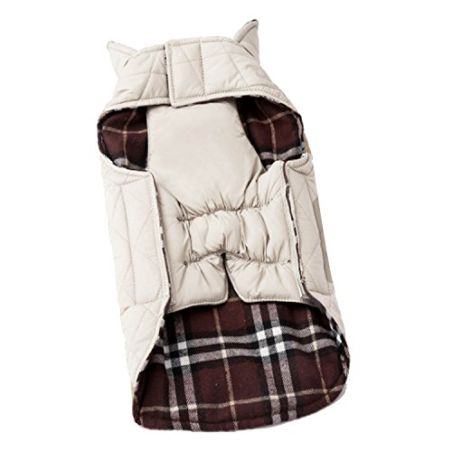 Gosear Perro Mascota Otoño Invierno Impermeable Reversible de la Tela Escocesa Ropa Chaqueta de la Capa de Tela XL