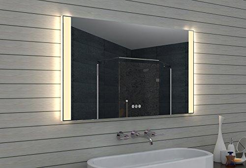 Lux-aqua LED Beleuchtung Badspiegel Badezimmerspiegel KaltWeiß WarmWeiß dimmbar 120x70cm MLO120L70H Glas Silber 120 x 70 x 3,5 cm