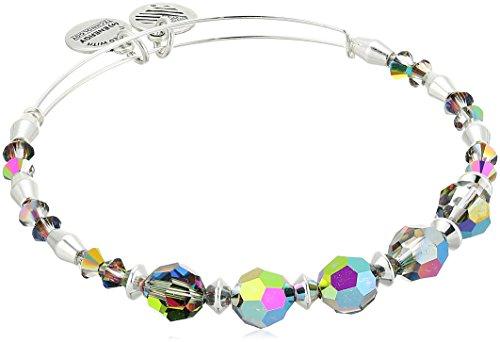 (Alex and Ani Swarovski Crystal Beaded, Mirror II Bangle Bracelet- Shiny Silver)