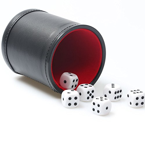 Backgammon Dice Cup (RERIVER Felt Lined PU Leather Dice Cup Set with 6 Dot Dices (Black, Pack of 1))