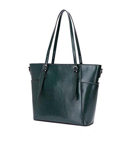 Genuina bolsos 3 RFID Bloqueo Mujer para 2 trabajo y viaje Capacidad Genuino de Hecho hombro Cuero Gran Sucastle Ideal a Mano Rv8xwqx