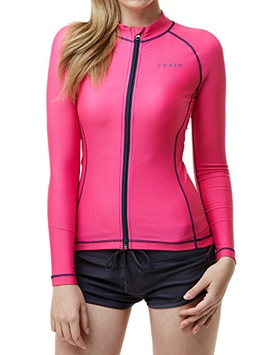 TSLA Women's UPF 50+ Zip Swim Front Long Sleeve Top Rashguard, Full Zip(fsz01) - Magenta, -