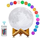 Yooker Moon Lamp 16 Colors 3D Printing, Remote Control & Touch Sensor Night Light LED Lunar Lamp with Stand, Remote & USB Cable(5.9inch) for Kids/Birthday /Anniversary