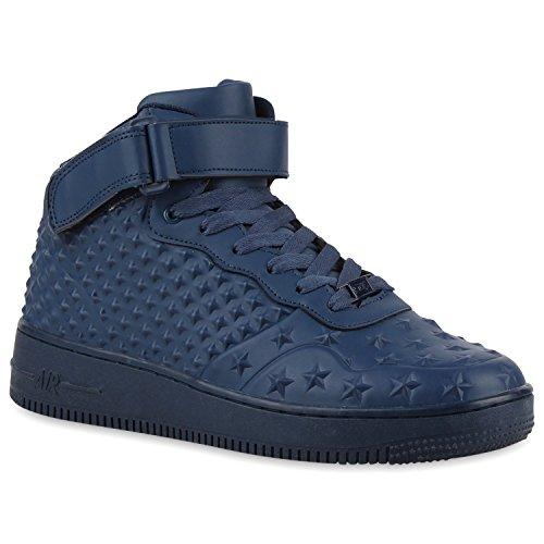 Stiefelparadies Unisex Baketballschuhe Damen Herren Sportschuhe Cultz Schuhe Muster Lack Sneakers Metallic Sneaker Flandell Dunkelblau Sterne