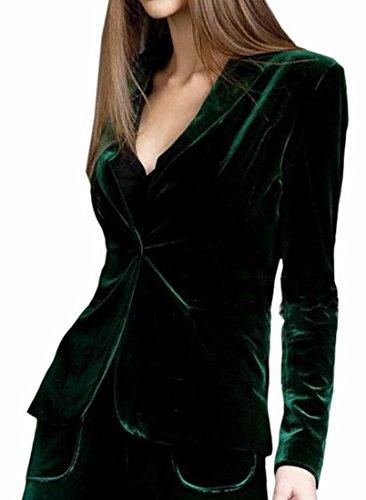 Generic Womens Lapel One Button Velvet Blazer Notched Lapels Blazer Green -