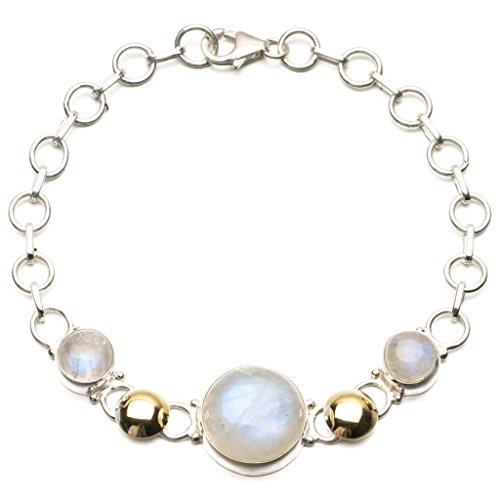 StarGems(tm) Natural Two Tones Rainbow Moonstone 925 Sterling Silver Tennis Bracelet