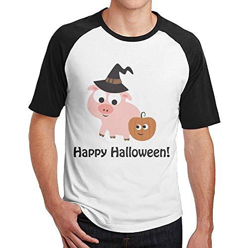 FOOOKL Men's Happy Halloween Pig Witch Short Sleeve Baseball Tee Raglan T-Shirt L Black