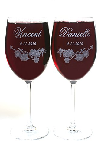 Crystal Wine Glasses Customizable with First Names and Date, Cherry Blossom Wedding Toasting (Personalized Wedding Toasting Goblets)