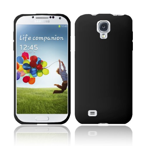 GTE Zone For Samsung Galaxy S4 i9500 Silicone Skin Cover - Black (Transparent Blue Color Faceplate)