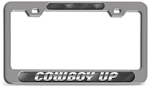 Makoroni - COWBOY UP Chrome Steel License Plate Frame 3D Style, License Tag Holder ()
