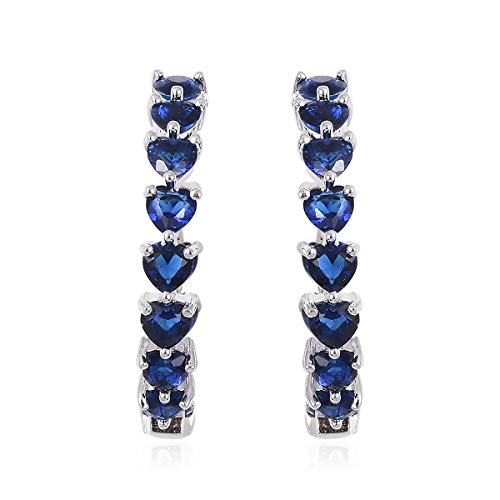 - Inside Out Hoops Hoop Earrings for Women Silvertone Heart Blue Glass Gift Jewelry Cttw 10.8
