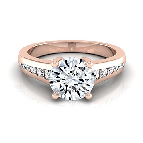 (14K Rose Gold Channel Set 3/4 ct. t.w. Round Brilliant Cut Diamond Engagement Ring, Size 6.5)